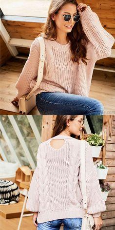 Leisure Long Sleeve Openwork Women Sweater Knitting Twist Round Neck Sweater #sweater #twist #leisure Cute Sweaters, Winter Sweaters, Cardigan Fashion, Sweater Cardigan, Crochet Clothes, Cardigans For Women, Clothes For Women, Knitting, Long Sleeve