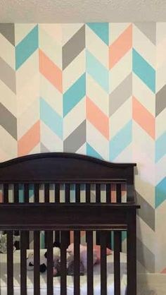 Creative Bedrooms - peach and teal nursery. Wall design and decor using paint colors and painters tape!