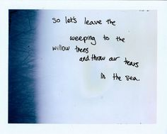 So lets leave the weeping to the willow trees and throw our tears into the sea.