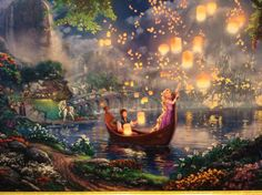 """Did you know that """"Tangled"""" is Disney's animated full length movie? It is also one of the Thomas Kinkade Studios fan favorites! This week we are releasing a new Thomas Kinkade Studios painting based on another popular Disney movie. Can you guess what Disney Rapunzel, Art Disney, Disney Love, Disney Pixar, Tangled Rapunzel, Disney Princess, Films Disney, Disney Artwork, Disney Crafts"""