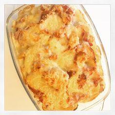 Gratin de choux fleur, pommes de terre et pancetta