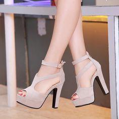 Square High Heel Peep Toe
