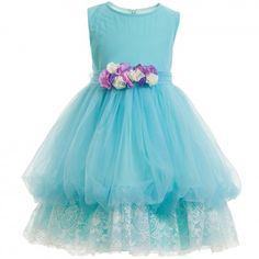 Aletta - Turquoise Blue Tulle & Lace Dress   Childrensalon