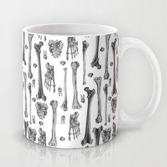 """Bones"" Mug by Deborah Ballinger Illustration on Society6."