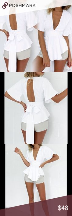 New White High Low V-Neck Open Back Top❤️ New White High Low V-Neck Open Back Top❤️ Tops Blouses