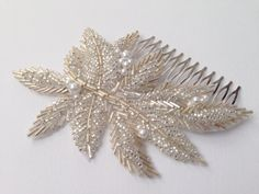 Silver and gold beaded bridal comb beaded bridal от JoliPetale Flower Headpiece Wedding, Hair Comb Wedding, Bridal Headpieces, Bridal Hair Accesories, Bridal Accessories, Pearl Crafts, Bead Embroidery Patterns, Barrettes, Bridal Comb