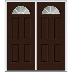 Milliken Millwork 74 in. x 81.75 in. Classic Clear Glass GBG 1/4 Lite 4 Panel Painted Majestic Steel Exterior Double Door, Polished Mahogany