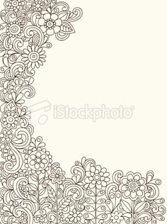 Henna Doodle Flowers Outline Vector Royalty Free Stock Vector Art Illustration