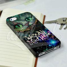 Cheshire Cats Alice in Wonderland Quote for iPhone 5/5c/6/6 Plus Black Hard Case #UnbrandedGeneric
