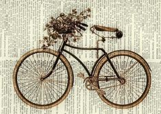 vintage bike II printed on page from old dictionary