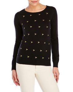 Uttam Boutique Black Embroidered Bird Sweater