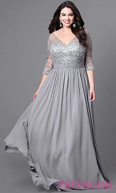 Floor-Length Plus-Size V-Neck 3/4 Sleeve Dress at PromGirl.com