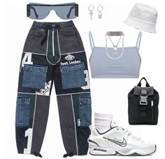 Baddie Outfits Casual, Cute Swag Outfits, Kpop Fashion Outfits, Tomboy Fashion, Mode Outfits, Retro Outfits, Stylish Outfits, Grunge Outfits, Streetwear Fashion