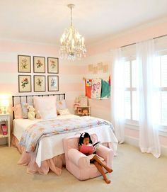 The Girly Big Girl Room, soft pink and white stripes on walls, chandelier, botanical art for a little girls room Big Girl Bedrooms, Little Girl Rooms, Light Pink Girls Bedroom, Blue Bedrooms, Pink Room, Trendy Bedroom, My New Room, My Room, Princess Room