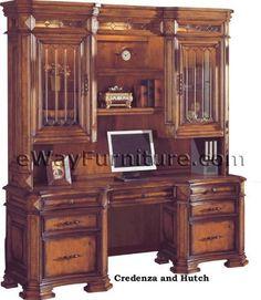 Italian Renaissance Elegantly Antiqued and Distressed Dark Oak Credenza and Hutch Home Office Furniture by eWay Furniture, http://www.amazon.com/dp/B005W73QPW/ref=cm_sw_r_pi_dp_2RzUpb1CZ9J0D