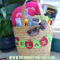 I would love something like this!!! What a great co-worker gift idea too! Teacher Gift Idea ~ Time To Relax... Things you might want to include in the tote: Sunglasses, beach towel, flip flops, magazine, lip gloss, chapstick, sunscreen, frisbee, gum, candies, sparkling cider.