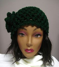 Hunter Green Lacy Hat with Flower Accent