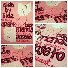 """State Outline Quote Canvas: """"Side by side or miles apart, best friends are always close to the heart."""""""