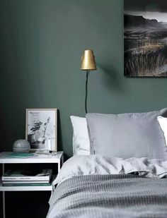 Here we showcase a a collection of perfectly minimal interior design examples for you to use as inspiration. Home Decor Bedroom, Farrow And Ball Bedroom, Interior Design, Bedroom Colors, Bedroom Green, Bedroom Interior, Bedroom Inspirations, Green Master Bedroom, Bedroom Wall