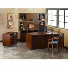 """Mayline Stella 72"""""""" x 30"""""""" Desk with Bridge, Hutch, Credenza, Mobile Pedestal, Storage Side Cabinet, and Lateral File in Toffee by Mayline Group. $1899.99. Add flair and class to your office, workspace, or living room with this beautiful Mayline Stella Set. This set provides an incredible amount of surface area while utilizing the sleek and simple design to vertically expand, giving extra storage without taking up extra floor space. The hutch fits seamlessly on top of either th..."""