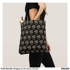 Gold Metallic Dragon Tote Bag Printed Tote Bags, Edge Design, Clutches, Metallic, Dragon, Sewing, Stylish, Gold, Shopping