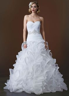 Organza Sample: Ball Gown Wedding Dress with Embellished Waist and Ruffled Skirt - White, 10