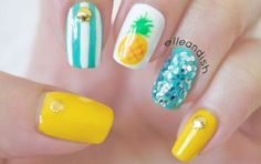 Cute Nail Designs For Spring – Your Beautiful Nails Pretty Nail Designs, Simple Nail Art Designs, Easy Designs, Manicure, Diy Nails, Design Ongles Courts, Nails Yellow, Pineapple Nails, Nagellack Trends