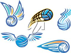 iCLIPART - Clip Art Illustration of Volleyball Designs #clipart #illustration #sports