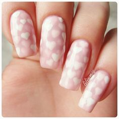"""Pinkpondmanicure!❤❤ I used two colors here. A white and a sheer pink. I used a dottingtool to make white hearts and applied a thin layer of the sheer pink. Then I added more hearts and a new coat of pink. That is how the hearts have slightly different colors ❤ @chinaglazeofficial """"White on White"""" and and the sheer pink is @essiepolish """"Muchi Muchi""""  #pondnails #pondmanicure #pondmani #chinaglaze #essienorge #essiepolish #essie #cgclique"""