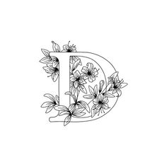 Floral Coloring Pages Letter D Colouring Page Print Alphabet Coloring Pages, Free Printable Coloring Pages, Colouring Pages, Adult Coloring Pages, Coloring Sheets, Letter Wall Art, Letter D, Free Motion Embroidery, Baby Embroidery