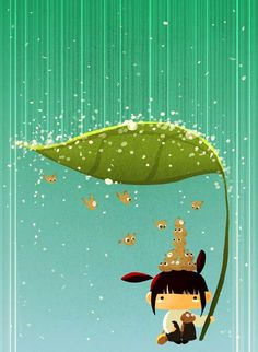 Under my leaf by hediun (reminds me of Totoro :)
