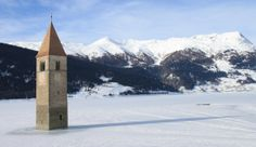 Church tower of Lago di Resia - Reschensee Kirchturm