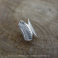 BOHO 925 Silver Ring-Gypsy Hippie Ring,Bohemian style,Statement Ring R103 JewelryBOHO,Handmade sterling silver BOHO Tribal printed ring