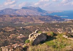 Polyrrinia Crete. Overlooking the town and port of Kissamos (Kastelli) and Gramvoussa peninsula. From the ancient castle on December 2015.