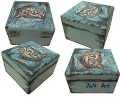 Alice in Wonderland Cat Hand Painted Wooden Box by SweetenYourHome