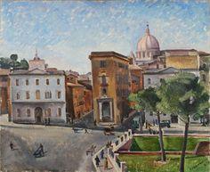 La Spina di Borgo da piazza Pia, olio su tavola di Tina Tommasini, solitamente conservata nel Museo di Roma,