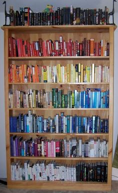 organizing books by color...simply lovely!