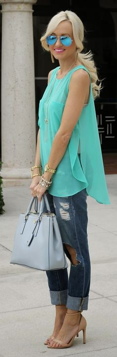 Creative Commune Mint Sheer Pocket Tunic Top by A spoonful of Style