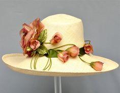 Ivory Hand Woven Equador Straw Women Hat, Kentucky Derby, Garden Party, Wedding, Church, Luncheon Hat.  via Etsy.