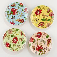Pampalore Plates Set of 4- World Market. Love these! Unfortunately they don't have dinner plates. There are matching adorable napkins though...
