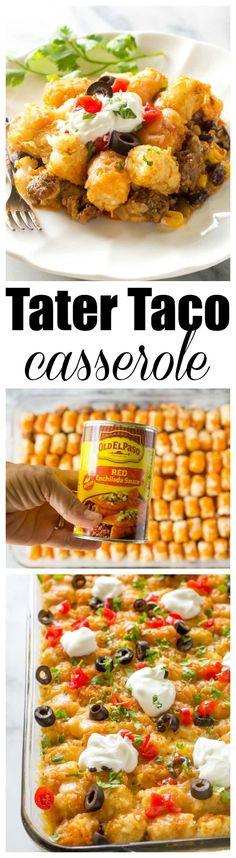 Tater Taco Casserole - A Mexican mixture of taco meat, beans, corn, and cheese topped with tater tots and enchilada sauce. beef main dishes Tater Taco Casserole - The Girl Who Ate Everything Mexican Food Recipes, Beef Recipes, Dinner Recipes, Cooking Recipes, Dog Recipes, Recipies, Kraft Recipes, Chicken Recipes, Vegetarian Mexican