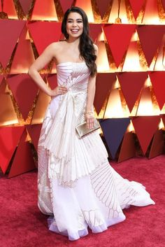 Auli'i Cravalho on the red carpet for the 89th Oscars, on Feb. 26, 2017 in Hollywood, Calif.