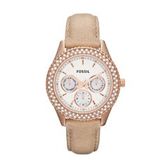 FOSSIL® Watch Styles Leather Watches:Watch Styles Stella Leather Watch – Sand ES3104