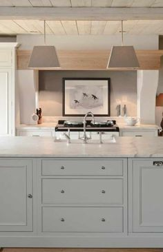 Contemporary - straight lines +soft colors +light wood + Shaker style cabinets+ marble countertops Neptune Kitchen ? Classic Kitchen, New Kitchen, Taupe Kitchen, Kitchen Unit, Pastel Kitchen, Kitchen Living, Living Room, Kitchen Interior, Kitchen Decor