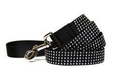 """Black Dog Leash 1"""" Rhinestone Dog Leash"""