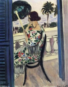 Acheter Tableau 'holding umbrella Femme' de Henri Matisse - Achat d'une reproduction sur toile peinte à la main , Reproduction peinture, copie de tableau, reproduction d'oeuvres d'art sur toile