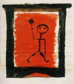 "Paul Klee  'Wandering Artist'  1940  Colored paste on paper 12.2 x 11.5"""