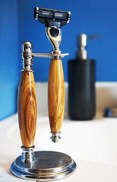 Brushed steel Hand-turned wooden razor set. by ImperiumWoodcraft