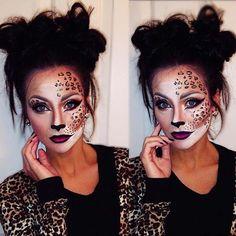 Pretty Leopard Makeup for Cute Halloween Makeup Ideas Cute Makeup, Leopard Halloween Makeup, Leopard Costume, Pretty Halloween Makeup, Halloween Looks, Cheetah Halloween Costume, Halloween 2018, Halloween Ideas, Tiger Makeup