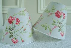 A French wild roses candle lampshade 11 x 13 cm / 4.3 x 5.1 ins for Wall Light, sconce or ceiling chandelier (pink on light blue) by BordeauxBrocante on Etsy